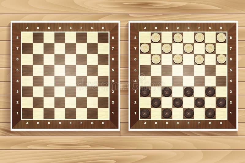 Vectorreeks schaakraad op houten achtergrond stock illustratie