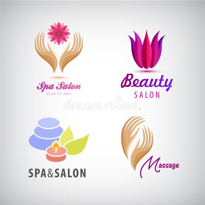 Vectorreeks schoonheidsmiddelen, kuuroord, schoonheidssalon, massageemblemen royalty-vrije illustratie