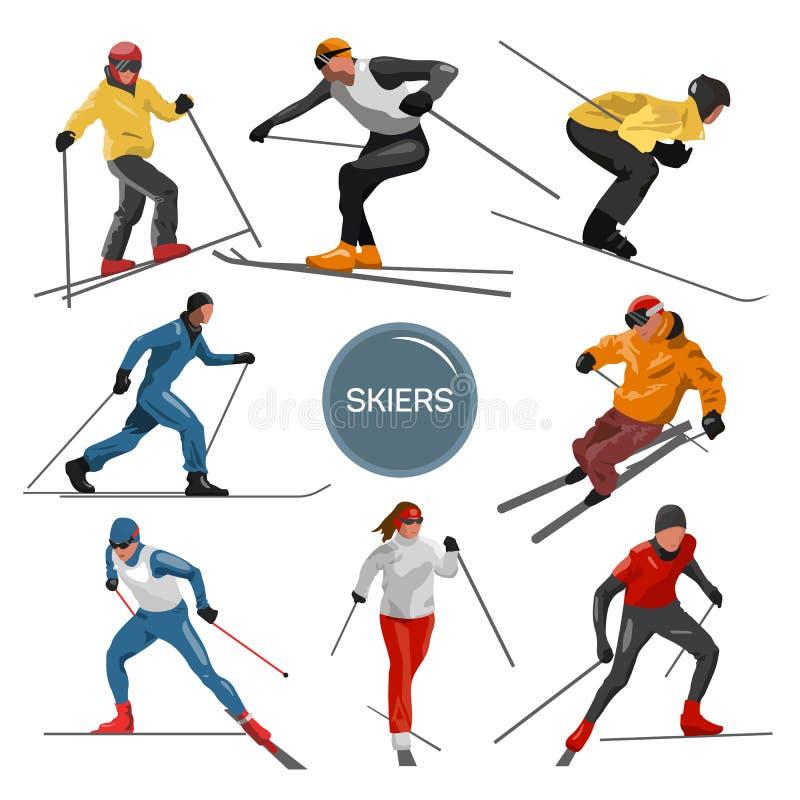 Vectorreeks skiërs Mensen het ski?en ontwerpelementen op witte achtergrond worden geïsoleerd die De silhouetten van de de winters royalty-vrije illustratie