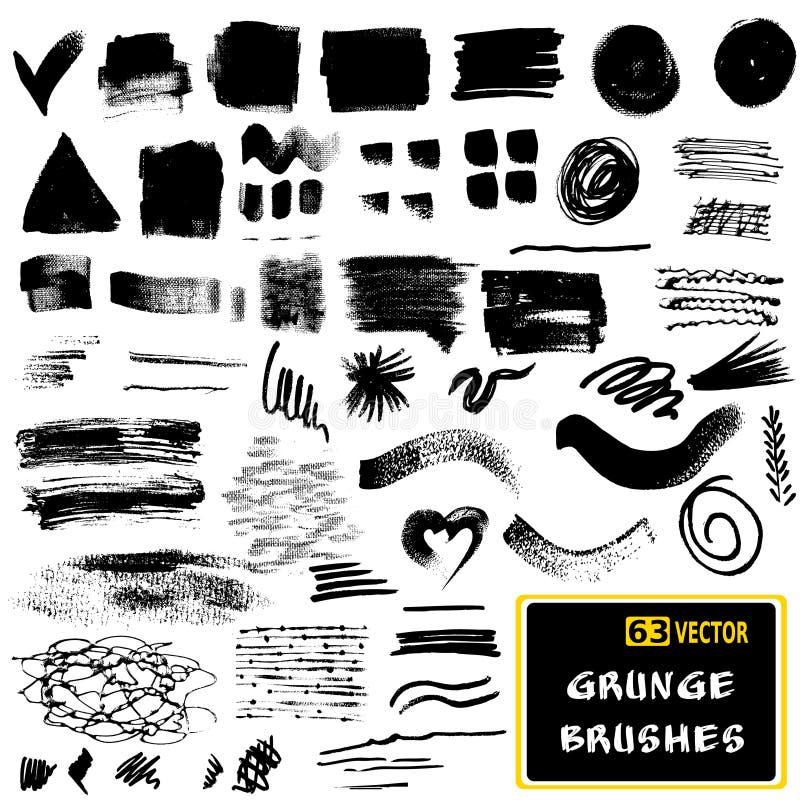 Vectorreeks slagen van de grungeborstel zwart-wit stock illustratie