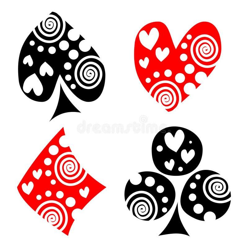 Vectorreeks speelkaartsymbolen royalty-vrije illustratie
