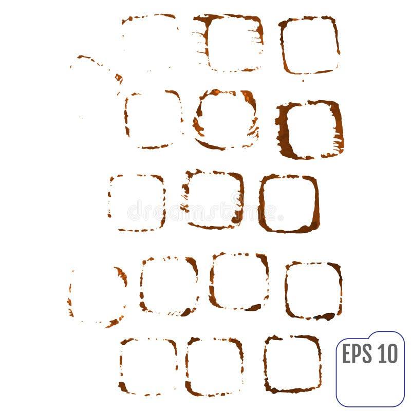 Vectorreeks sporen van een koffiekop Plonsen en sporen van cof royalty-vrije illustratie
