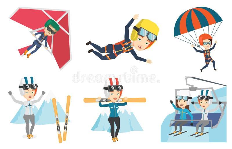 Vectorreeks sportkarakters stock illustratie
