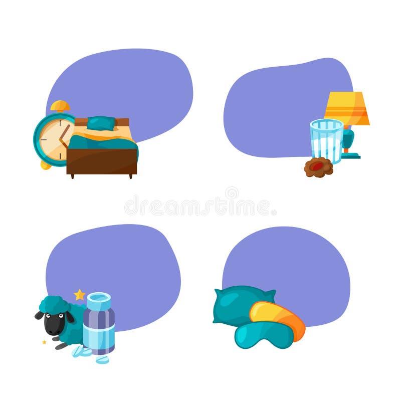Vectorreeks stickers met de elementen van de beeldverhaalslaap stock illustratie