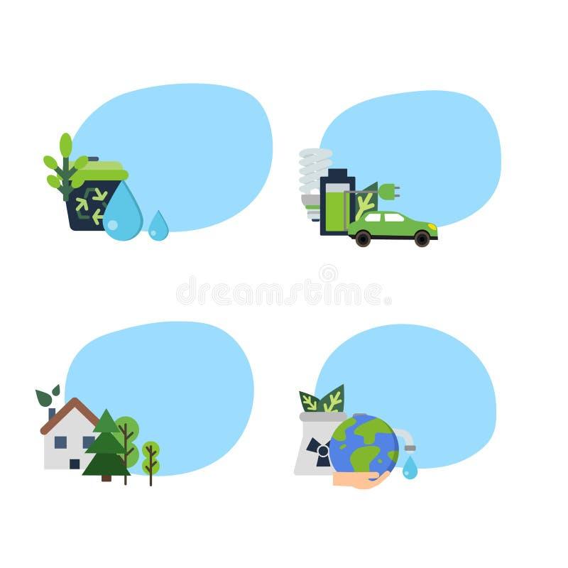 Vectorreeks stickers met ecologie vlakke pictogrammen vector illustratie