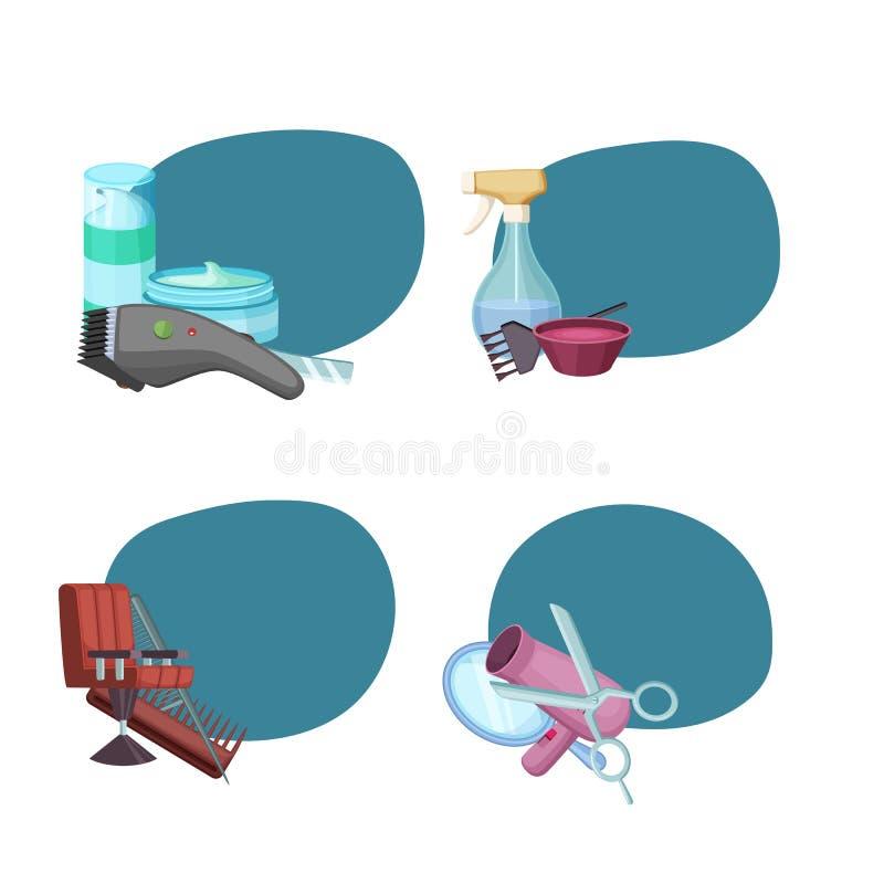 Vectorreeks stickers met kapper of kapper vector illustratie