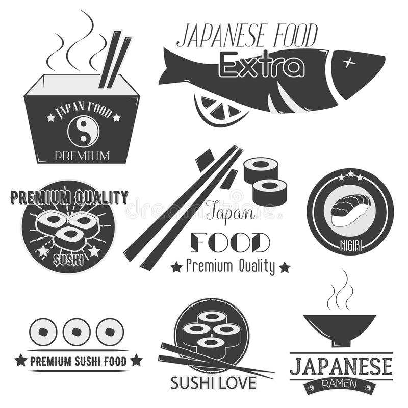 Vectorreeks sushietiketten Het Japanse embleem van het voedselrestaurant, pictogrammen Aziatische keukenillustratie royalty-vrije illustratie