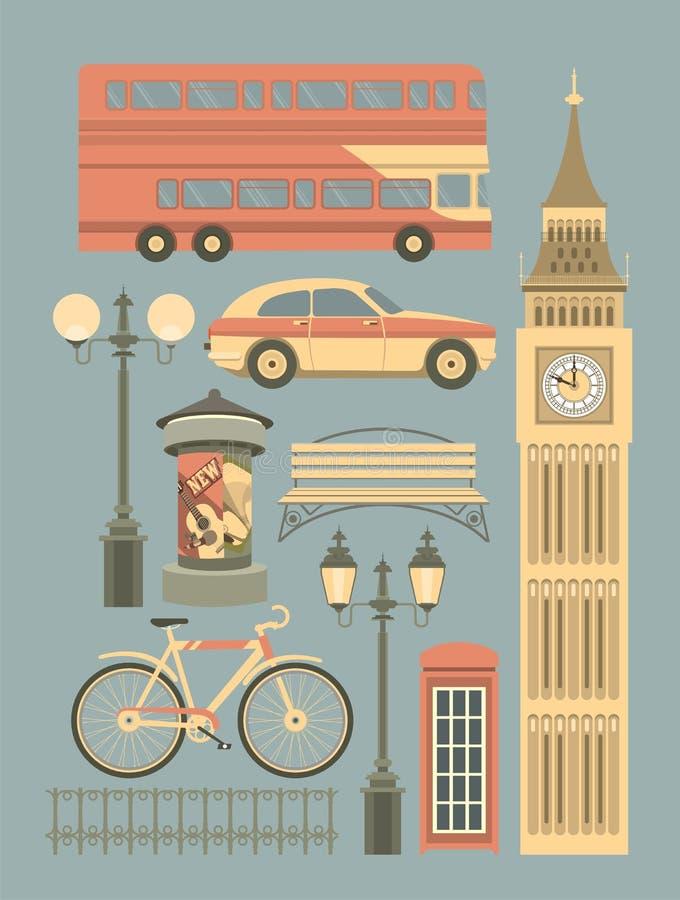 Vectorreeks symbolen van Londen royalty-vrije illustratie