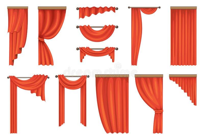 Vectorreeks theater rode gordijnen vector illustratie