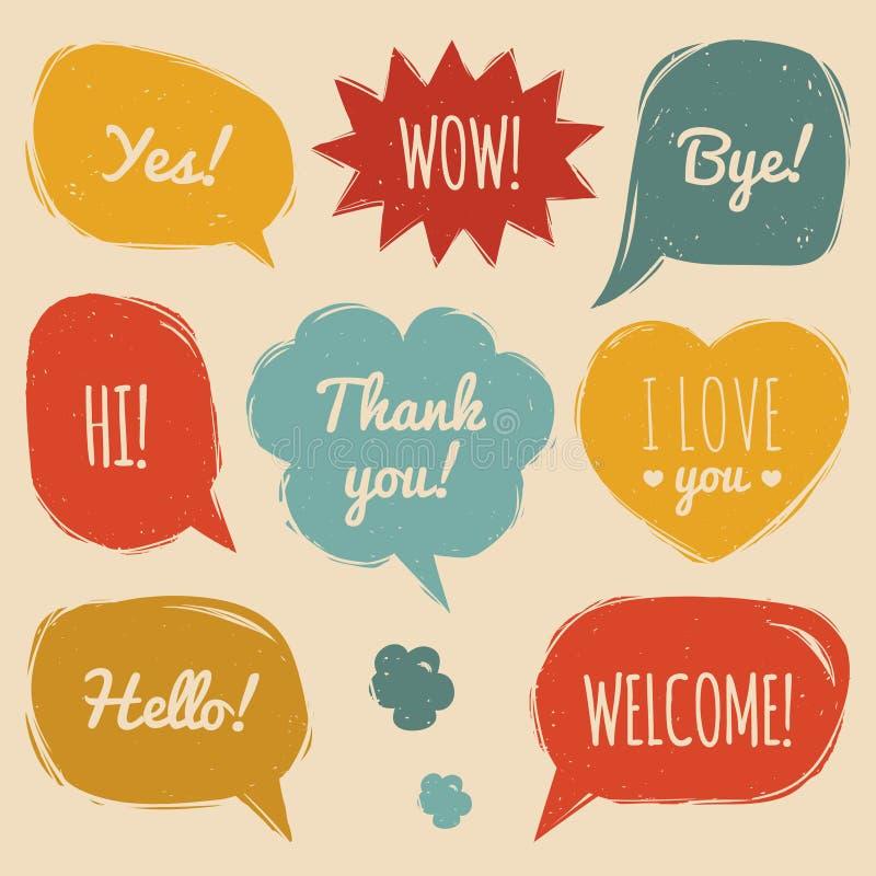 Vectorreeks toespraakbellen in grappige stijl Hand getrokken reeks dialoogvensters met uitdrukkingen Hello ja, tot ziens, Welkome royalty-vrije illustratie