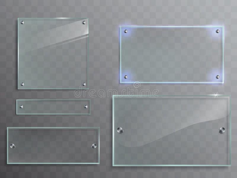 Vectorreeks transparante glasplaten, panelen met metaaltoebehoren vector illustratie