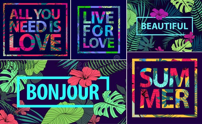 Vectorreeks tropische citaten, affiches en banners Moderne drukken in vierkante kaders Vakantiekaarten met palmbladen stock illustratie