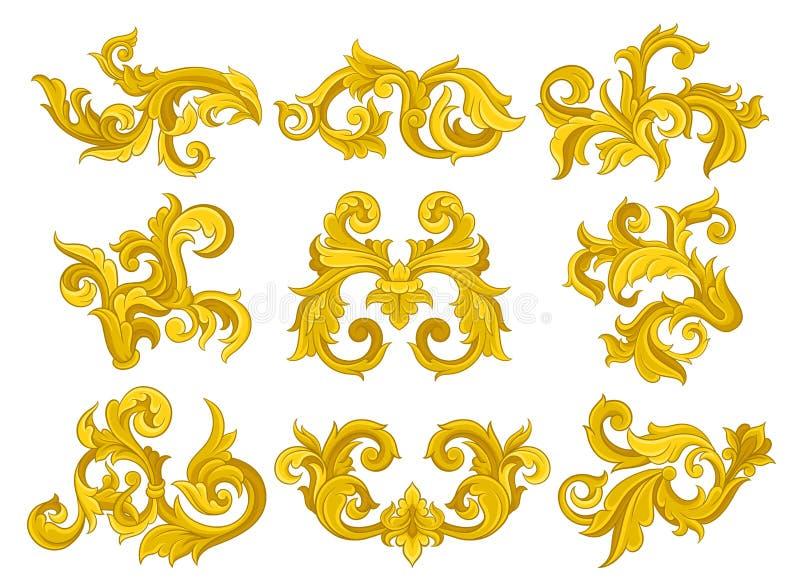 Vectorreeks uitstekende barokke ornamenten Elegante bloemenpatronen in Victoriaanse stijl Luxueuze sierelementen stock illustratie