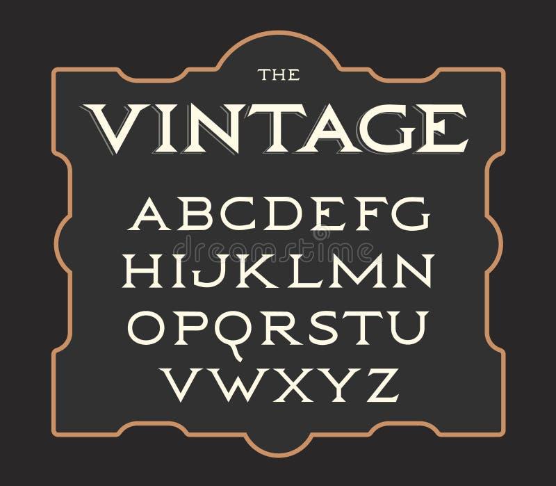 Vectorreeks uitstekende brieven Retro Latijns alfabet Gezet elegantie oud Serif brieveninzameling vector illustratie