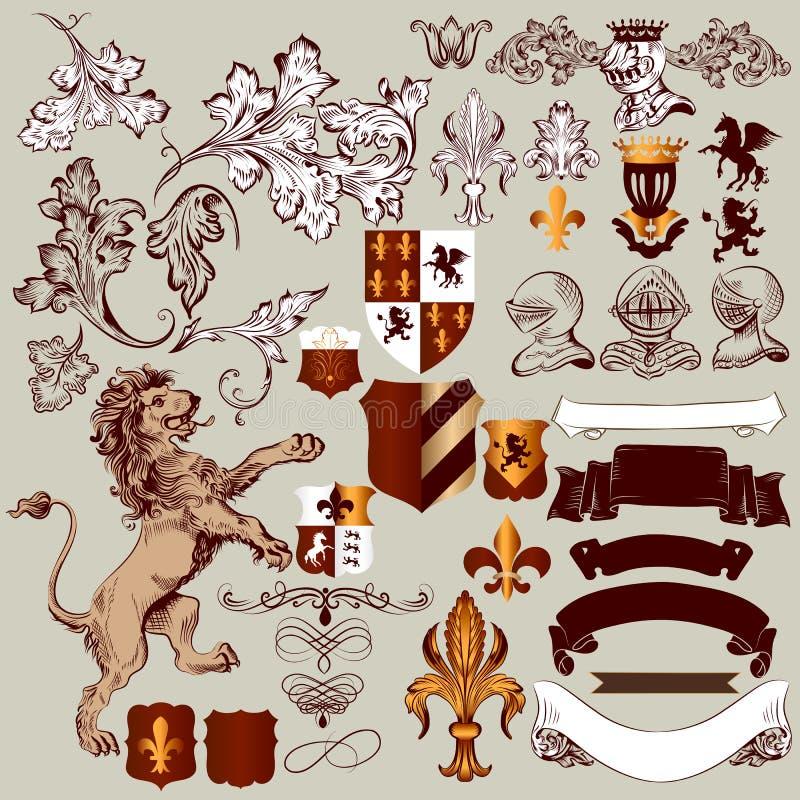 Vectorreeks uitstekende heraldische elementen voor ontwerp stock illustratie
