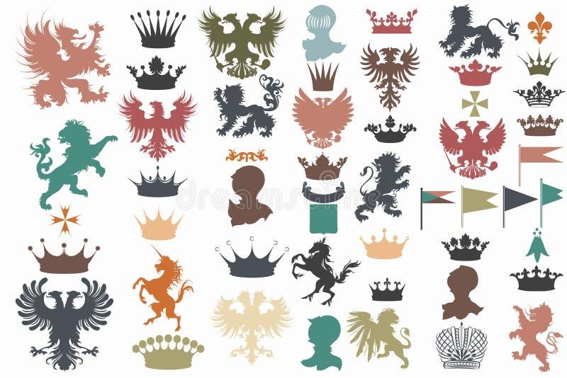 Vectorreeks uitstekende heraldische elementen voor ontwerp vector illustratie