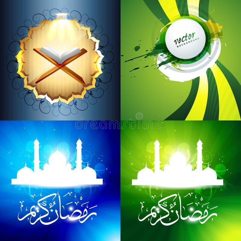 Vectorreeks van aantrekkelijke achtergrond van ramadan kareemfestival