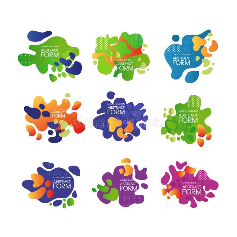 Vectorreeks van 9 abstracte bellen met plaats voor tekst Helder-gekleurde typografieelementen voor dekking van brochure vector illustratie