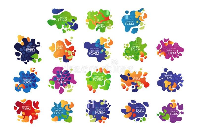 Vectorreeks van 9 abstracte bellen met plaats voor tekst Helder-gekleurde typografieelementen voor dekking van brochure royalty-vrije illustratie