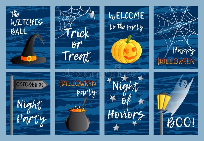Vectorreeks van acht prentbriefkaaren, uitnodigingen of banners Een groot spinneweb vóór een bizarre heldere maan Traditionele va vector illustratie
