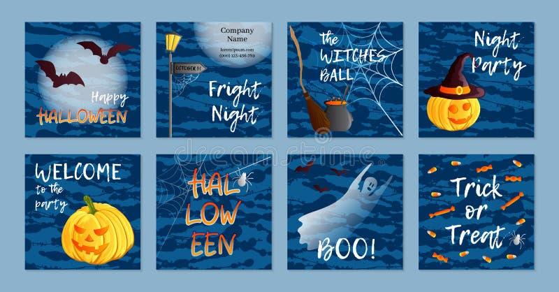 Vectorreeks van acht vierkante prentbriefkaaren, uitnodigingen of banners Een groot spinneweb vóór een bizarre heldere maan Tradi stock fotografie