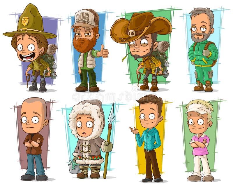 Vectorreeks van beeldverhaal de koele grappige verschillende karakters vector illustratie