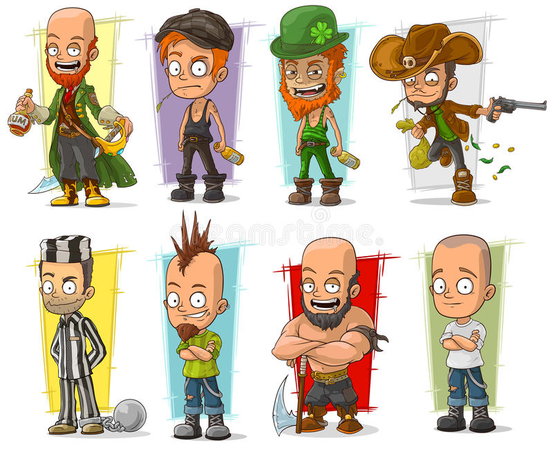 Vectorreeks van beeldverhaal de koele grappige verschillende karakters royalty-vrije illustratie