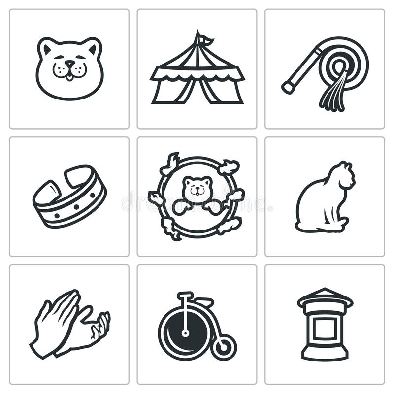 Vectorreeks van Cat Circus Icons royalty-vrije illustratie