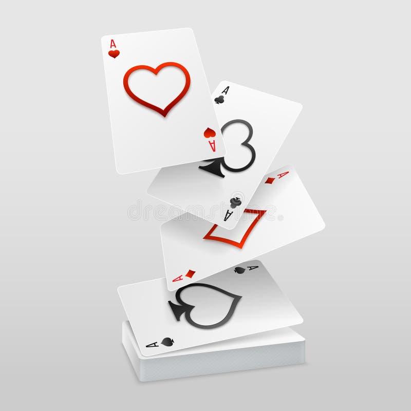 Vectorreeks van de daling van vier azenspeelkaarten op het kaartdek royalty-vrije illustratie