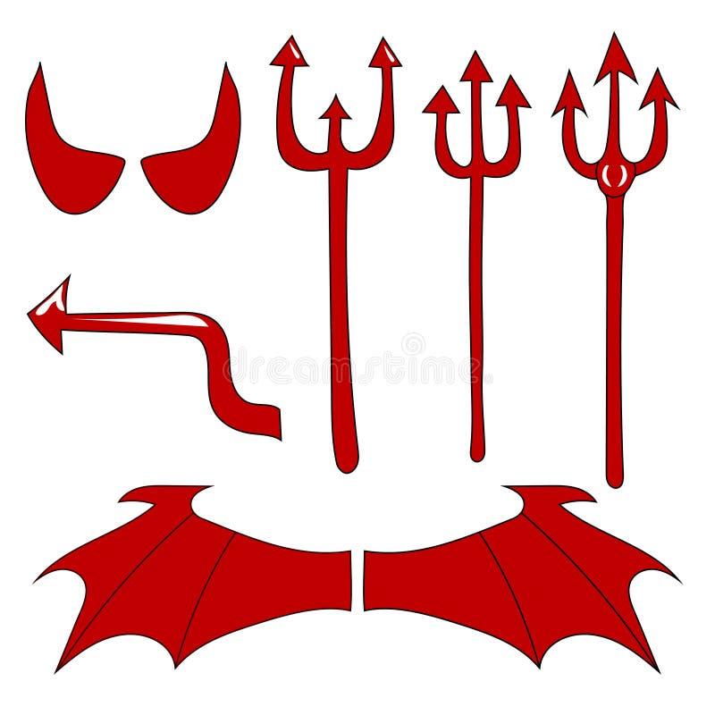 Vectorreeks van de duivel Rode die duivelshoorn, staart, drietand, vleugels, op witte achtergrond worden geïsoleerd De tekening v stock illustratie
