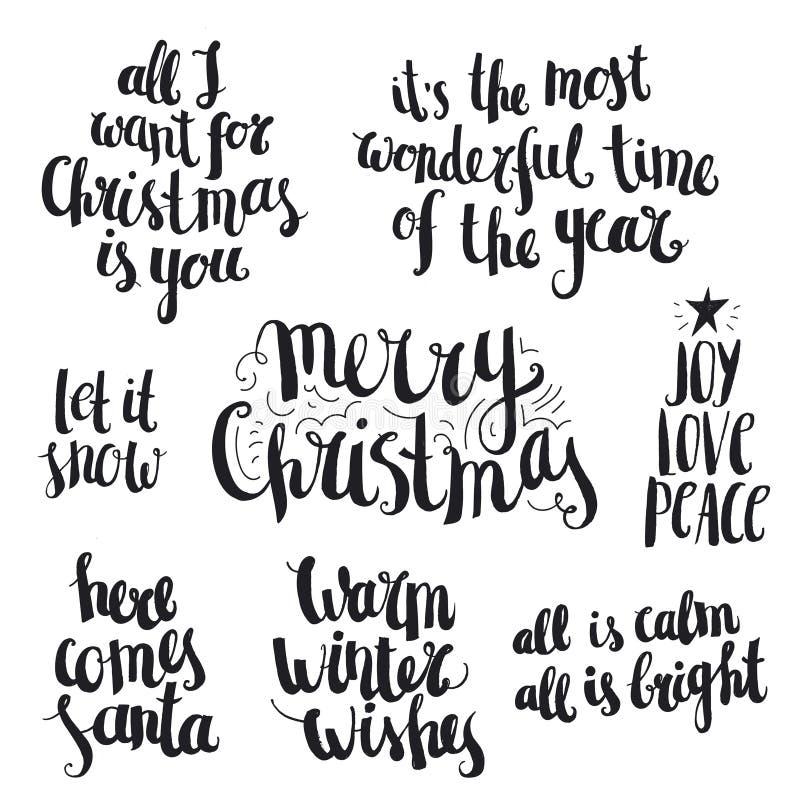 Vectorreeks van de inkthand getrokken Kerstmis en winter royalty-vrije illustratie
