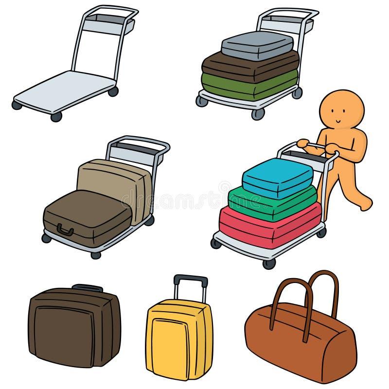 Vectorreeks van de kar van de luchthavenbagage vector illustratie