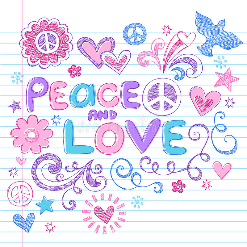 VectorReeks van de Krabbels van het Notitieboekje van de vrede & van de Liefde de Schetsmatige stock illustratie