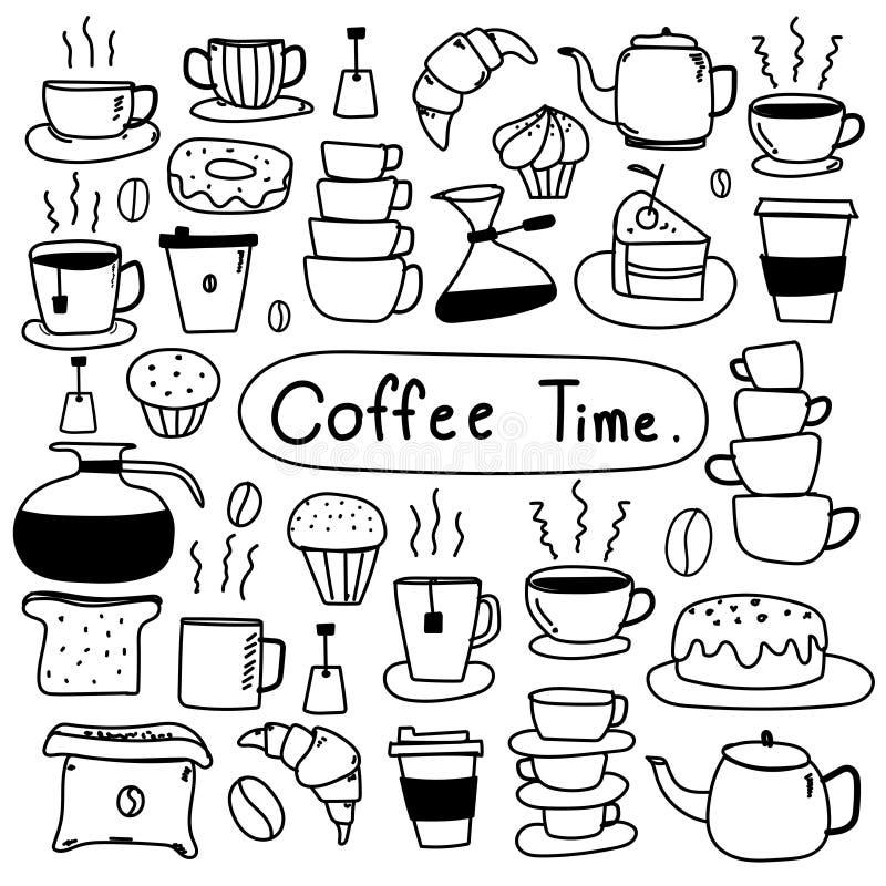 Vectorreeks van de lijn de Hand Getrokken Krabbel van Koffie vector illustratie