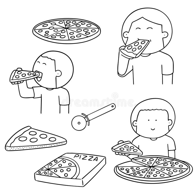 Vectorreeks van de mens die pizza eten stock illustratie