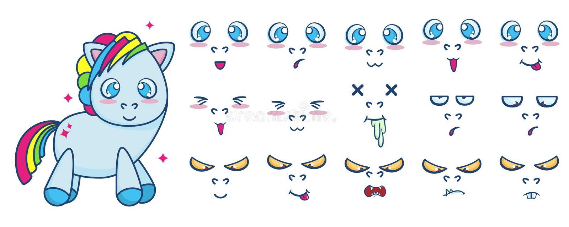 Vectorreeks van de status van leuke poney met verschillende gezichtsemoties royalty-vrije illustratie