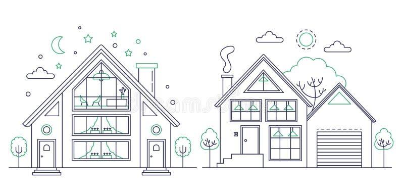 Vectorreeks van de vectorillustratie van de lijnkunst van plattelandsrijtjeshuizen vector illustratie