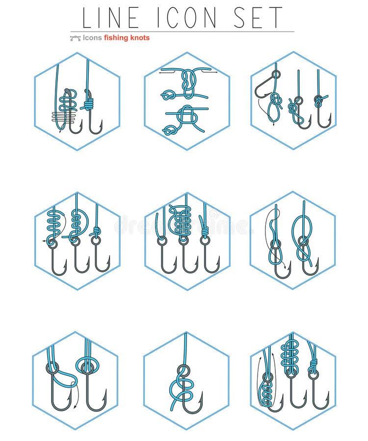 Vectorreeks van de visserij van de pictogrammen van de hakenlijn met stock illustratie