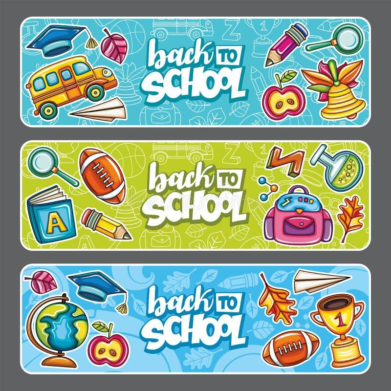 Vectorreeks van drie kinderen horizontale banners vector illustratie