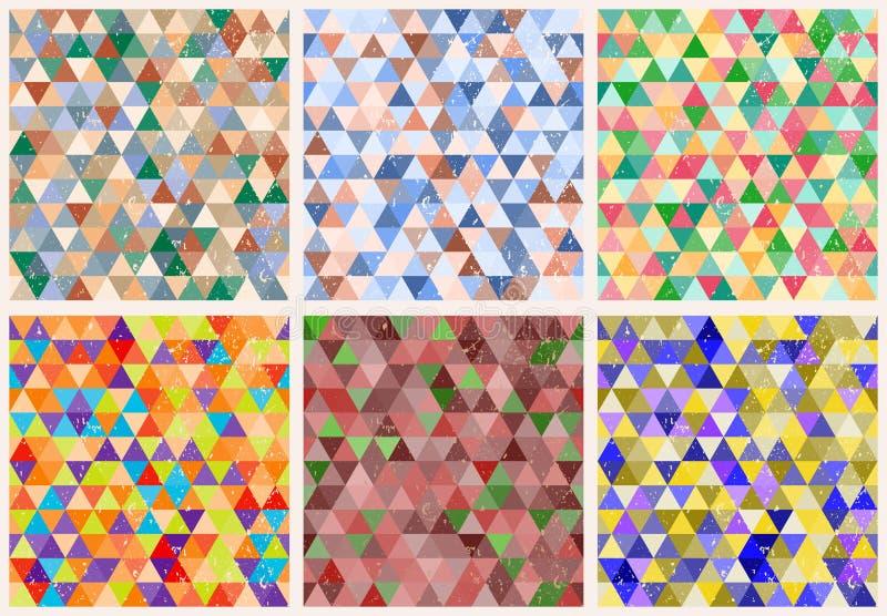 Vectorreeks van 6 driehoeks naadloze patronen vector illustratie
