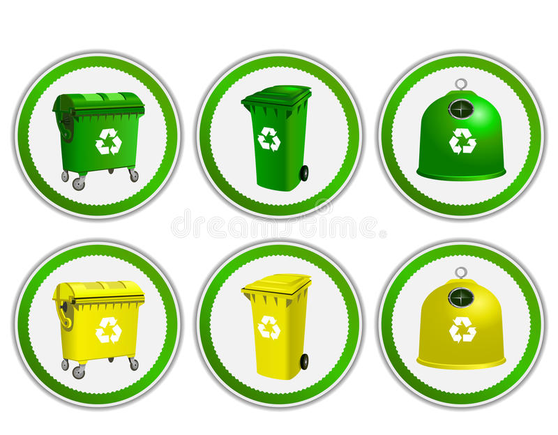 Vectorreeks van ecologie, milieustickers stock illustratie