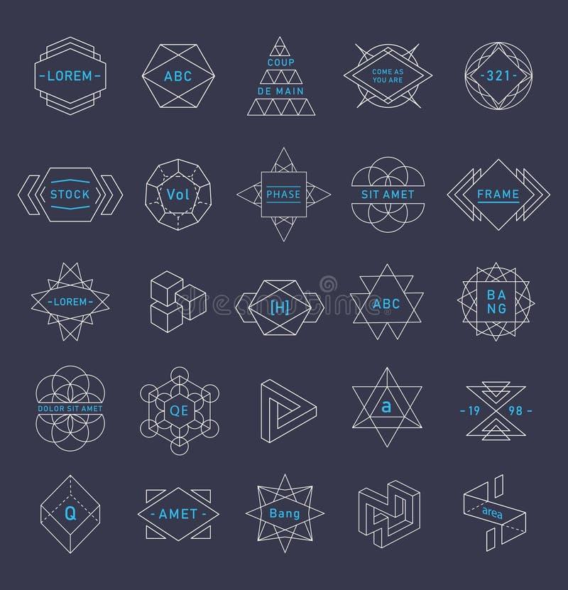 Vectorreeks van in emblemen de geometrische vormen stock illustratie