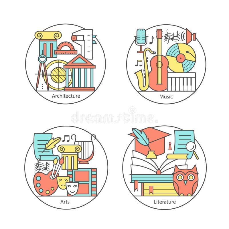 Vectorreeks van emblemenliteratuur, muziek, kunst, architectuur Moderne dunne lijnpictogrammen royalty-vrije illustratie