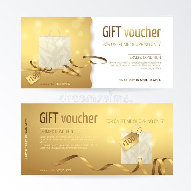 Vectorreeks van giftbon met document het winkelen zak, kleine boog, linten en markeringen op de glanzende gouden achtergrond stock illustratie