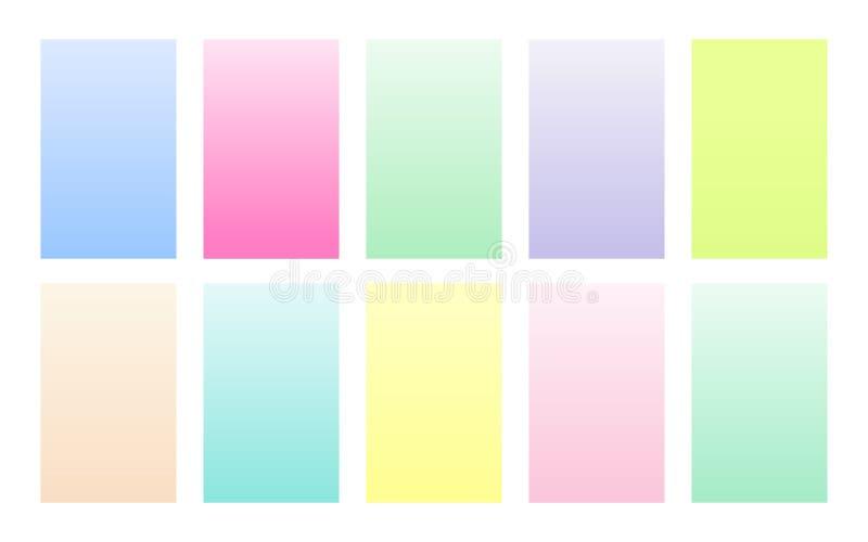 Vectorreeks van gradiënt achtergrondpastelkleurpalet vector illustratie