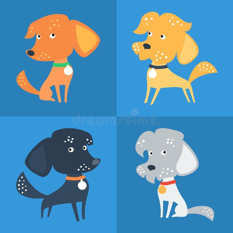 Vectorreeks van grappig Gemengd ras of bastaarde hond stock illustratie