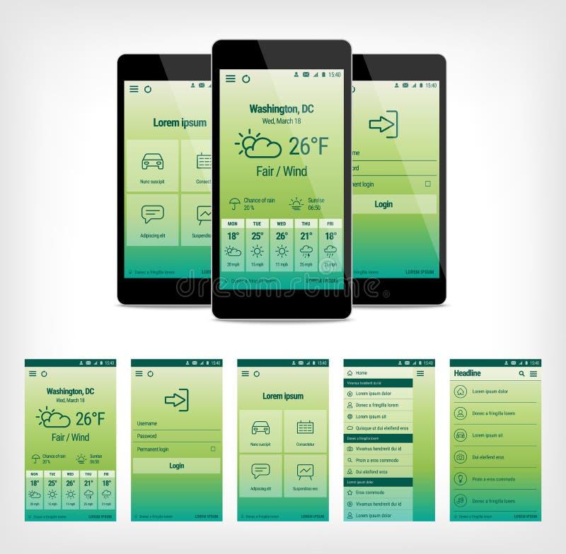 Vectorreeks van groen mobiel gebruikersinterfaceontwerp royalty-vrije illustratie