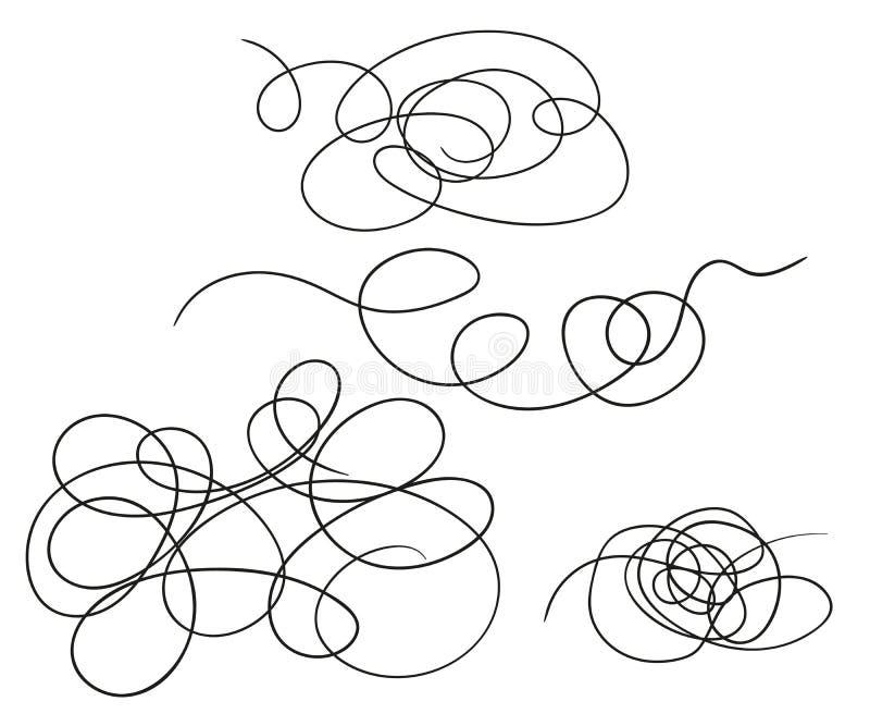 Vectorreeks van hand-drawn vorm van de gekrabbellijn De Krabbel van de schetsstijl Vectordieelementen op lichte achtergrond worde vector illustratie