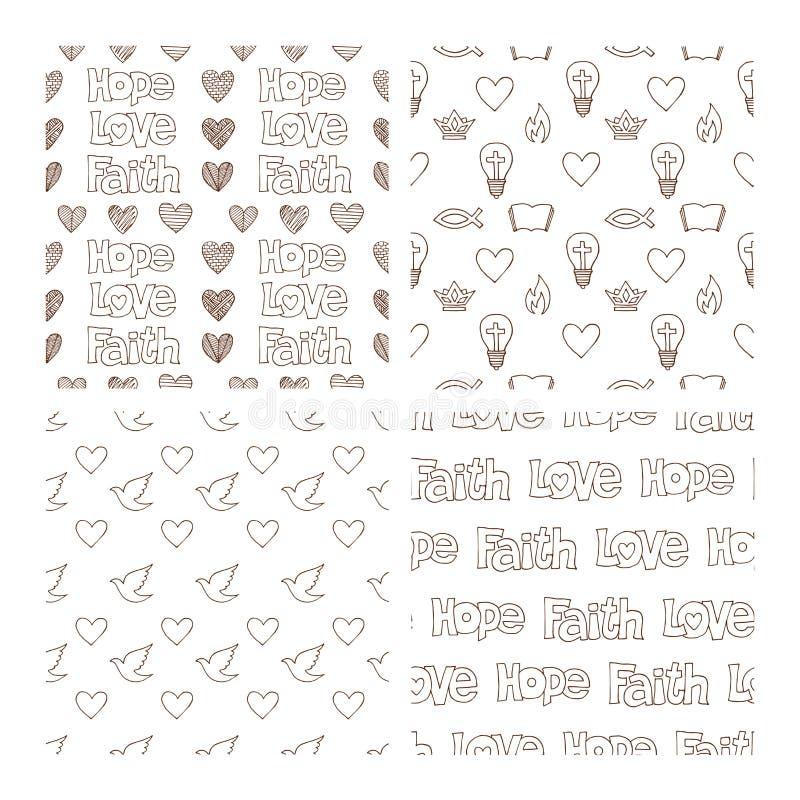Vectorreeks van hand getrokken christelijk naadloos die patroon met inkt wordt gemaakt Texturen uit de vrije hand voor stof, poly vector illustratie