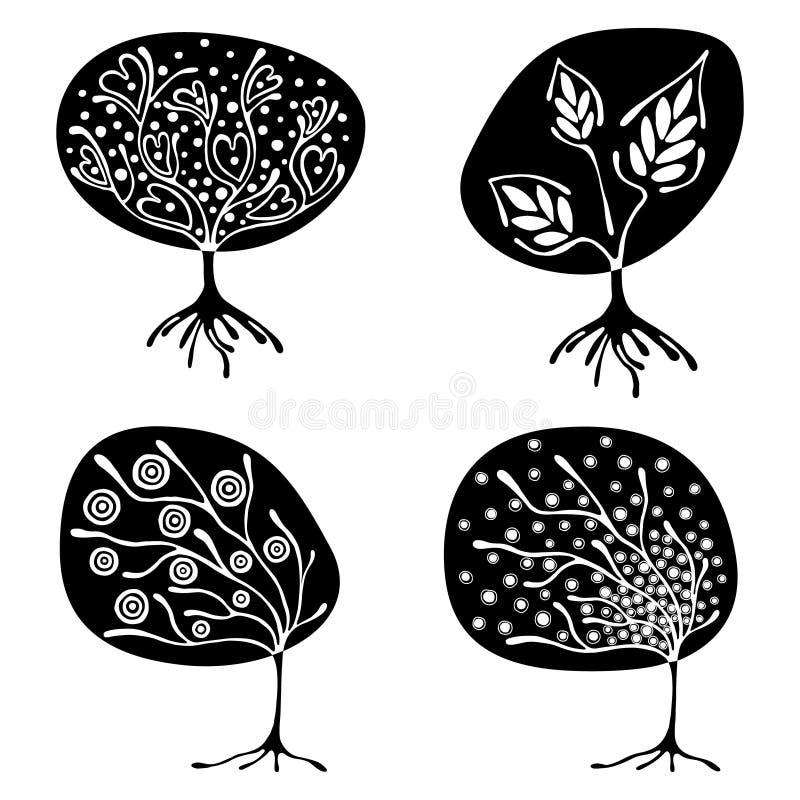 Vectorreeks van hand getrokken illustratie, decoratieve sier gestileerde boom Zwart-witte grafische die illustratie op w wordt ge royalty-vrije illustratie